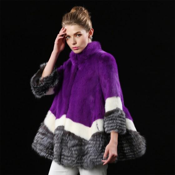Purple New Whole Mink Fur Coat Fox Fur Collar