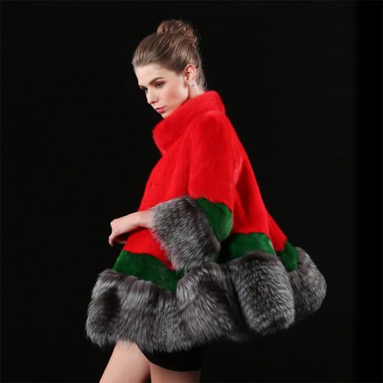 Multiple colors New Whole Mink Fur Coat Fox Fur Collar