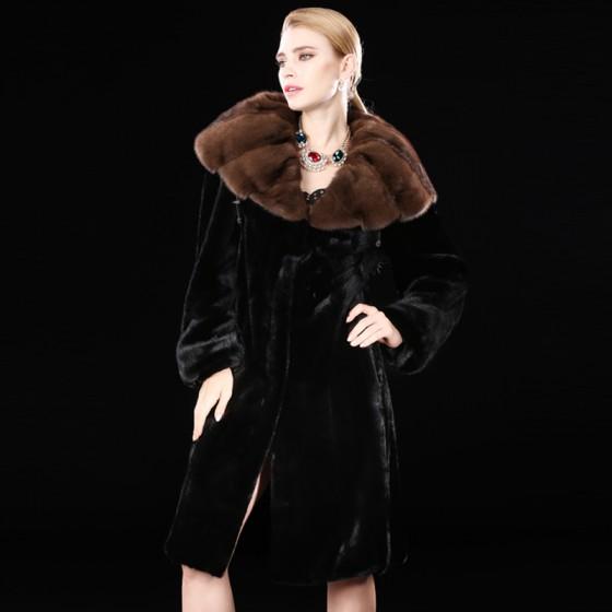 Black Whole Mink Fur Coats Full Length