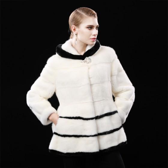 Black/White Mink Fur Coats Short Length