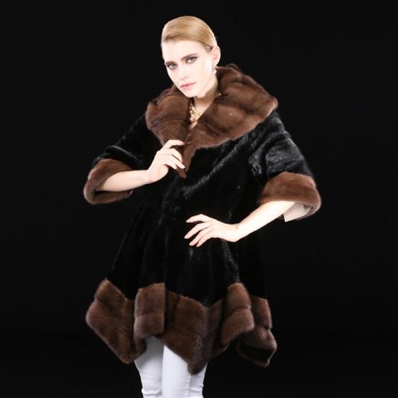 Black Whole Mink Fur Coats Medium Length