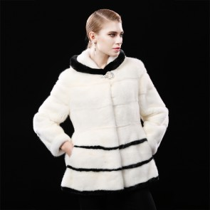 Black/White Mink Fur Coats Short Length
