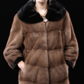 Brown Whole Mink Fur Coats Medium Length