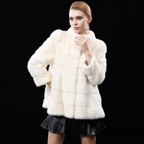 White Whole Mink Fur Coats Short Length