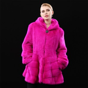 Rose Red/White/Blue Whole Mink Fur Coats Medium Length